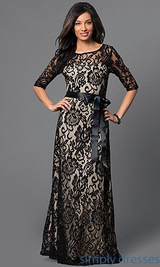 Long Lace Dress With Half Sleeves By Sally Fashion Lace Dress Long Lace Long Gown Modest Lace Dress