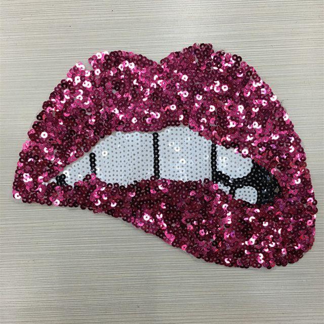 df21ff62b 2 pcs 24 18 cm Rose Red Lantejoulas Lábios Patches Para Acessórios de Vestuário  Bordado de Ferro Em Patch Para O Vestuário DIY Motivo Applique