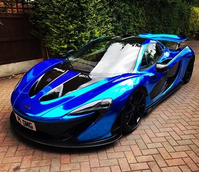 kcs_1 mclaren p1 wrapped blue chrome with gloss black and white