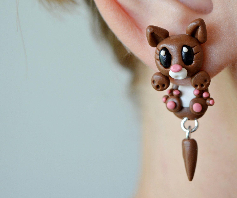 Brown cat earrings animal earrings dangling earrings cute