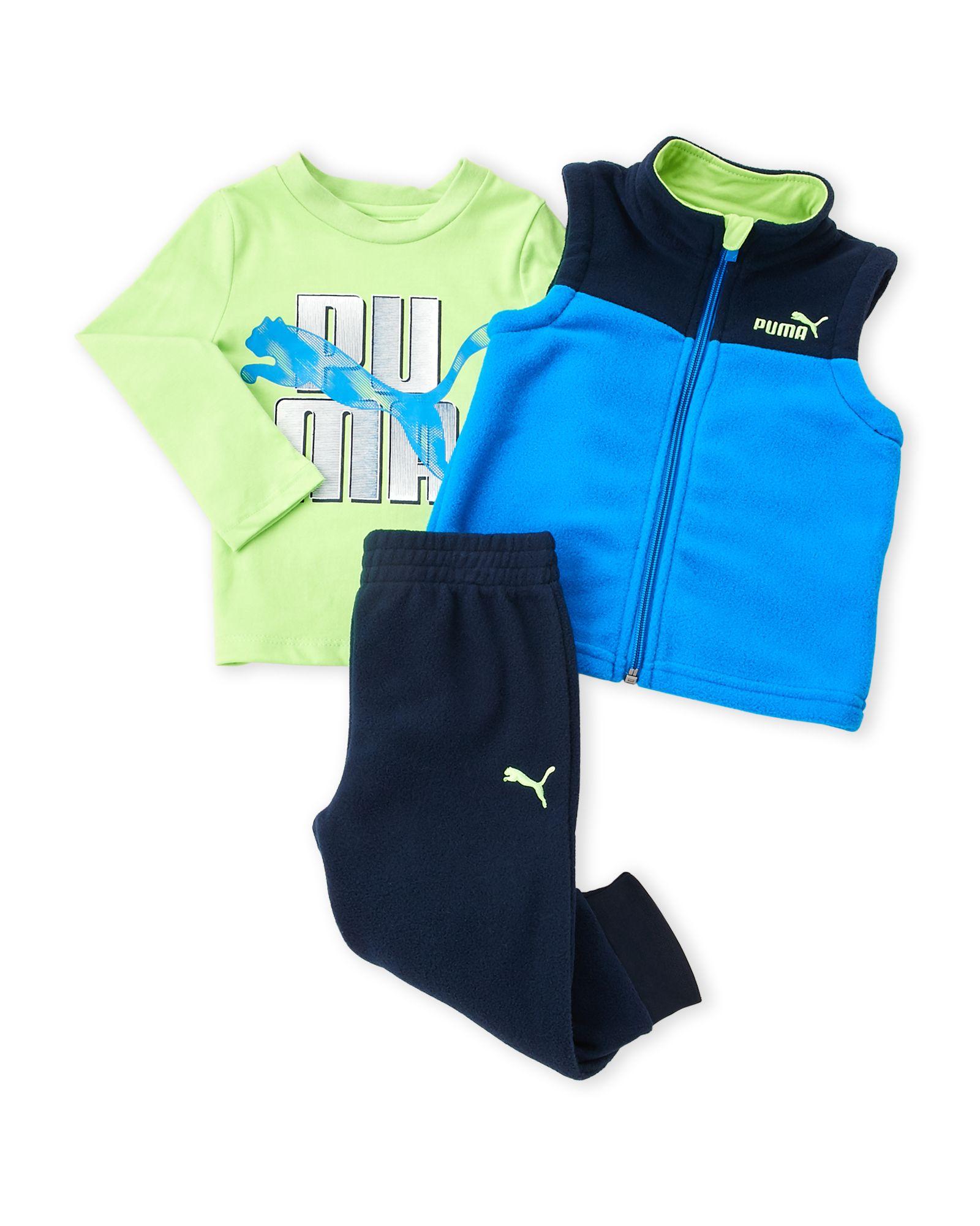 Puma Infant Boys 3 Piece Fleece Vest & Pants Set