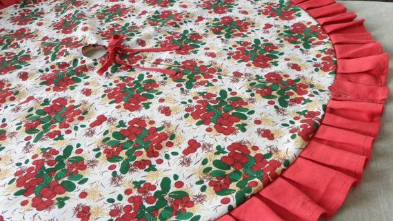 Berry Christmas Tree Skirt Lace Tree Skirt Red Tree Skirt Red