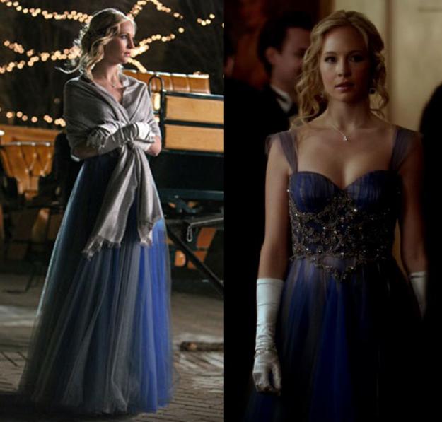 "candice accola in ""the vampire diaries,"" caroline royal blue dress"