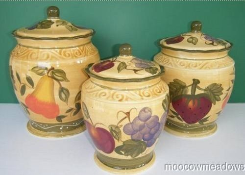 New Tuscan FRUIT CANISTERS Grapes Strawberry Kitchen Decor Pear Apple  Accent Art