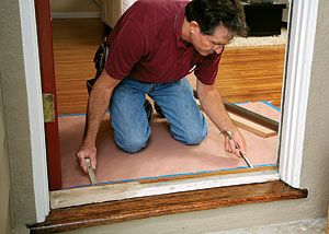 Replacing a door threshold learn how to make and fine tune the template then measure cut and for Exterior door threshold replacement