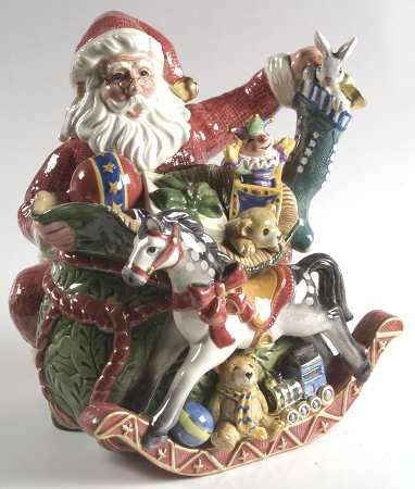 Fitz/Floyd Old Fashioned Christmas Santa Teapot  Lid Teapots
