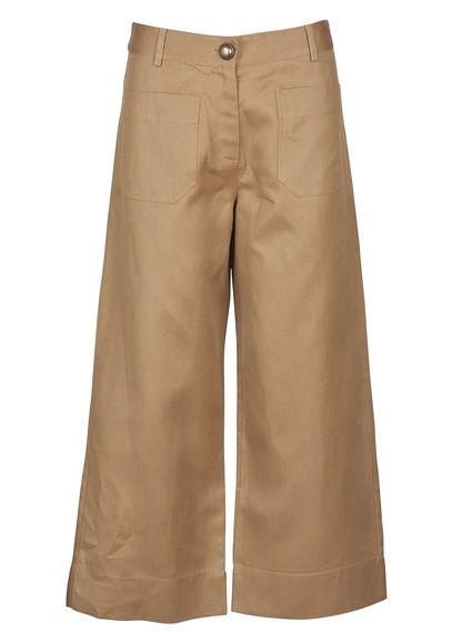 Pantalon large cropped en coton mélangé Moussaillon Jaune by SESSUN