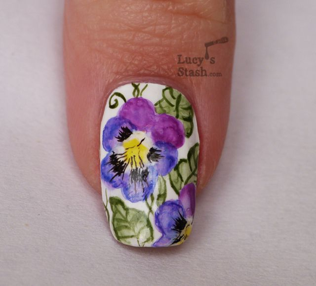 Lucy S Stash Watercolour Aquarelle Nail Art Pansy Violet