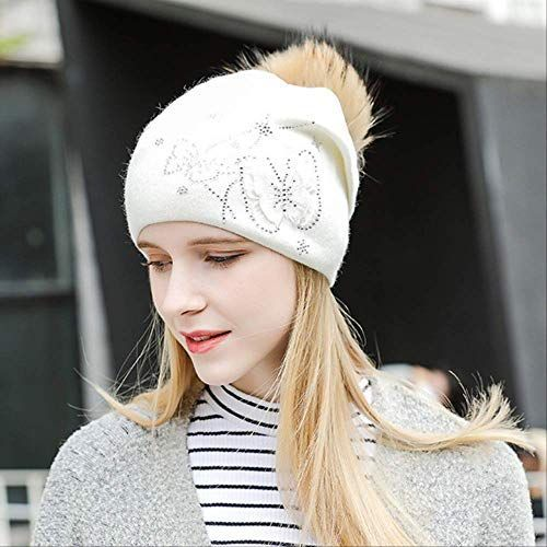 Amazing offer on Womens Winter Hats New Wool Ball Cap EarSheath Head Cap Thickened Wool Butterfly Hot Diamond Knitted Hat online  New Womens Winter Hats New Wool Ball Cap...
