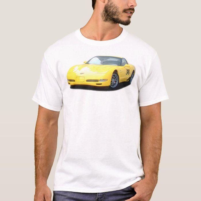 Yellow Corvette Z06 Race Car T-Shirt   Zazzle.com