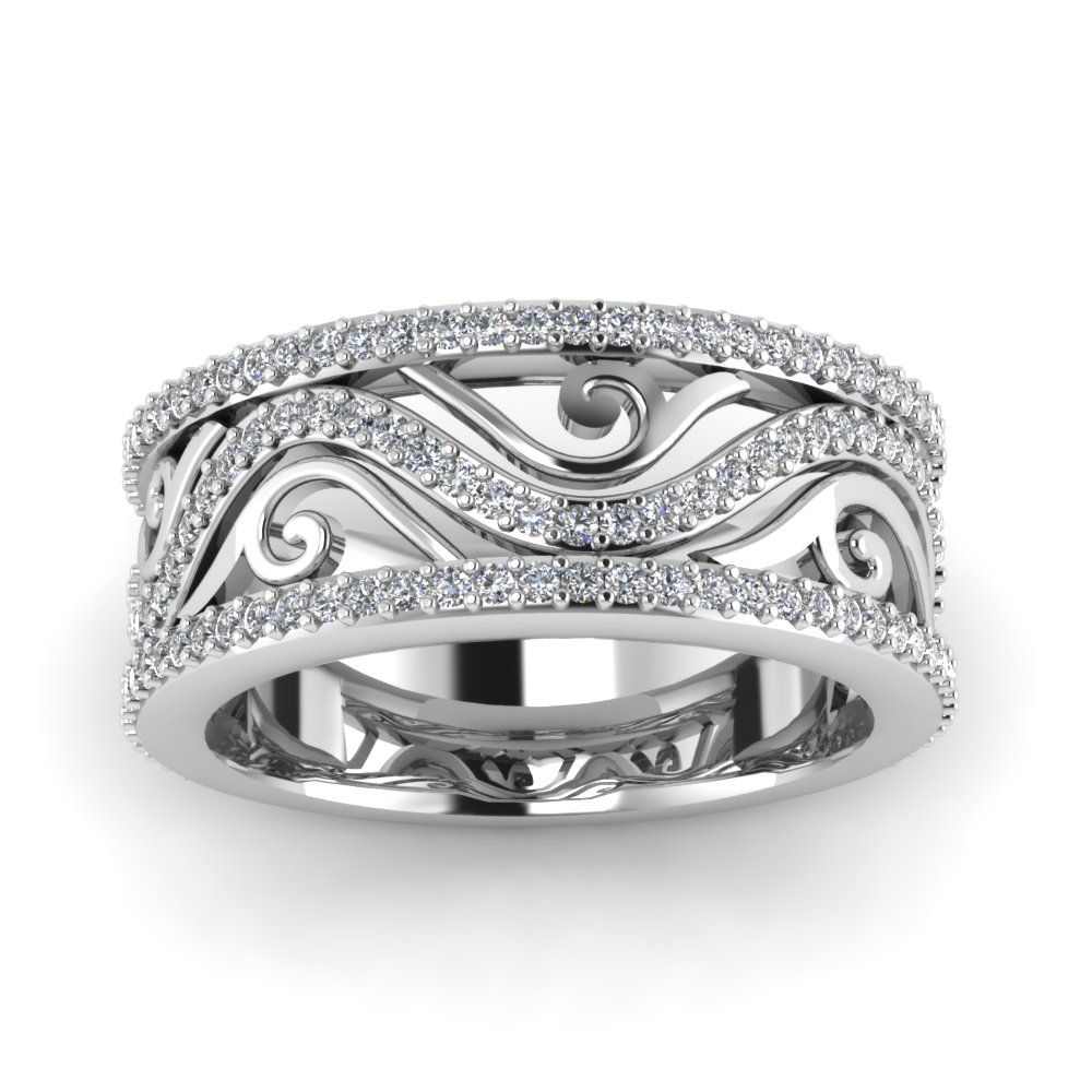 Art deco marquise wide wedding diamond band in 950