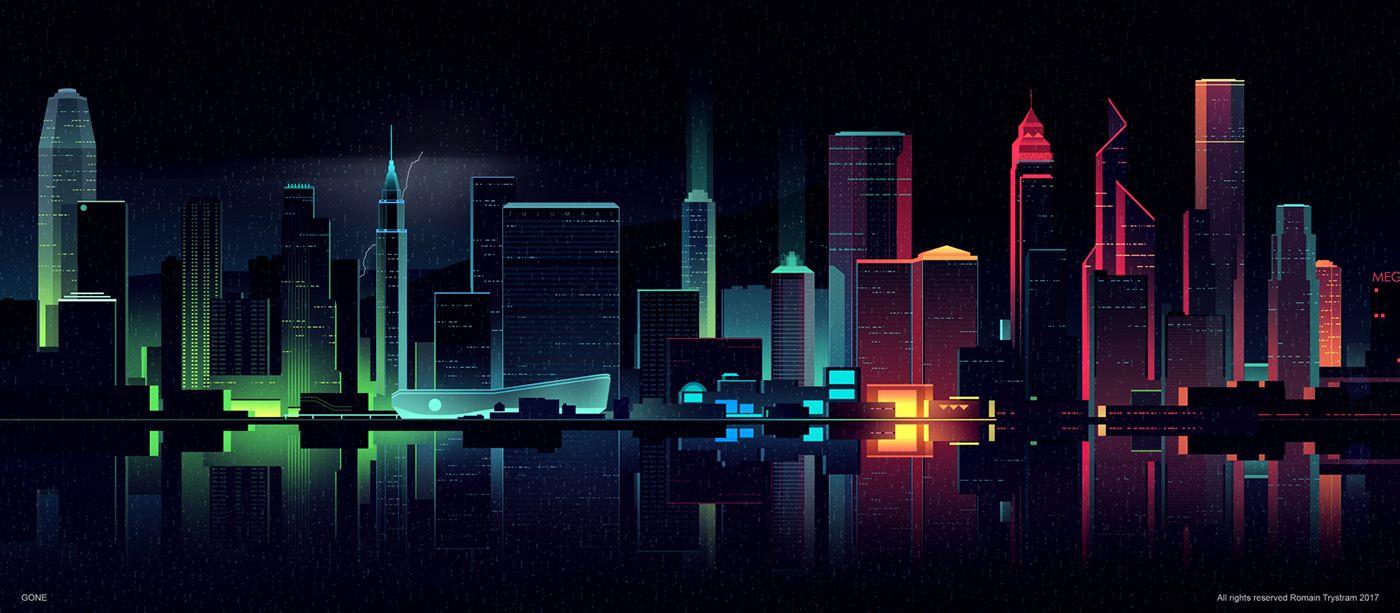 Brilliant Digital Illustrations of a City by Night