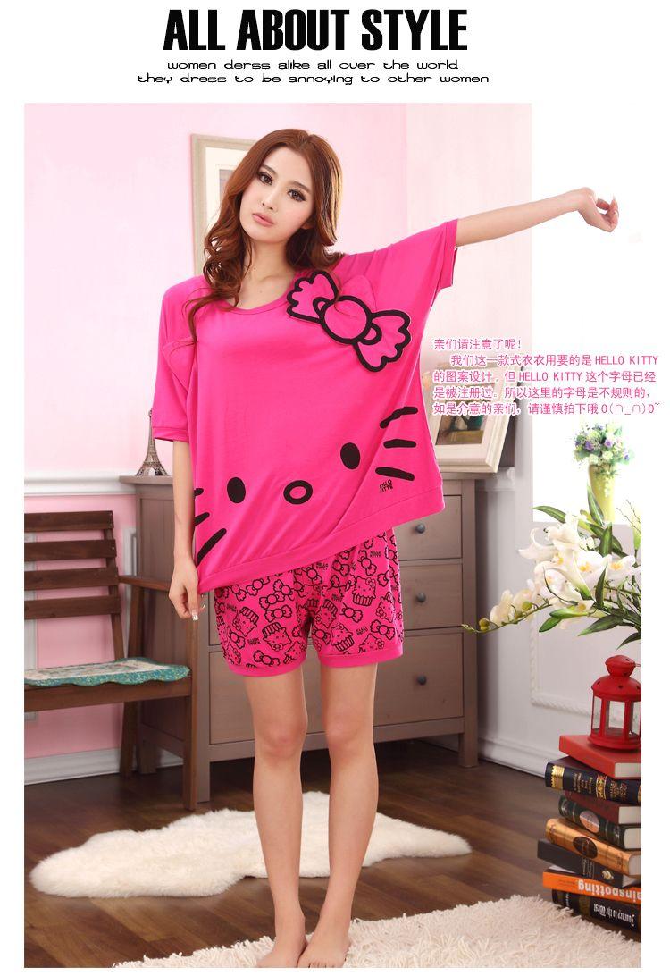 Olá Kitty Modal mulheres curto pijamas pijamas Set Lady Homewear pijamas de verão Leisurewear desgaste em Conjuntos de Pijama de Roupas e Acessórios Femininos no AliExpress.com | Alibaba Group