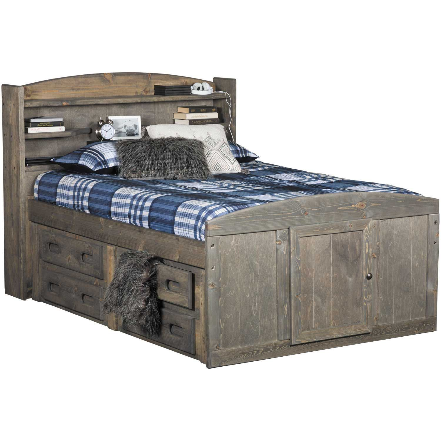 Cheyenne Driftwood Full Captain S Bed With Two Underbed Storage Units Captains Bed Under Bed Storage Bed Frame With Storage