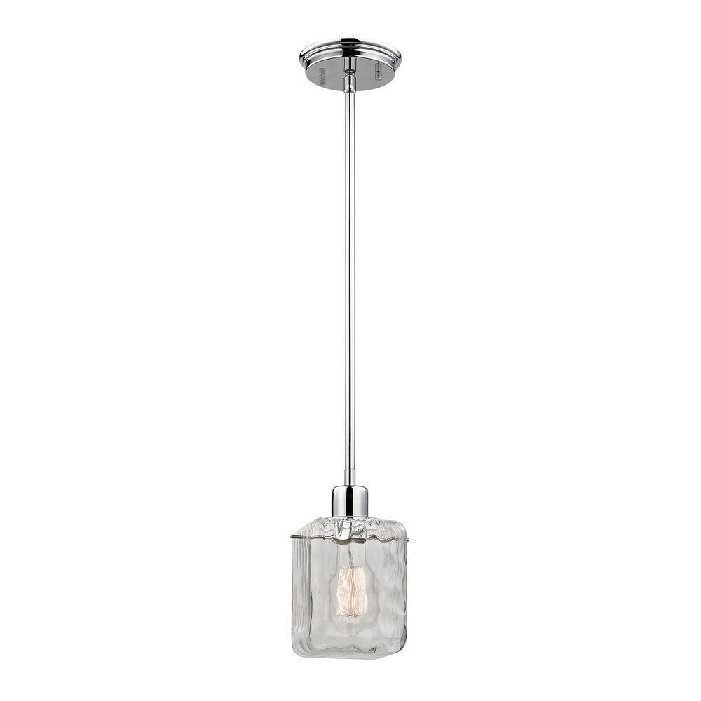 Home Decorators Collection 1 Light Polished Chrome Pendant With Water Cube Glass Shade Tnp18164 The Home Depot Polished Chrome Pendant Light Elk Lighting