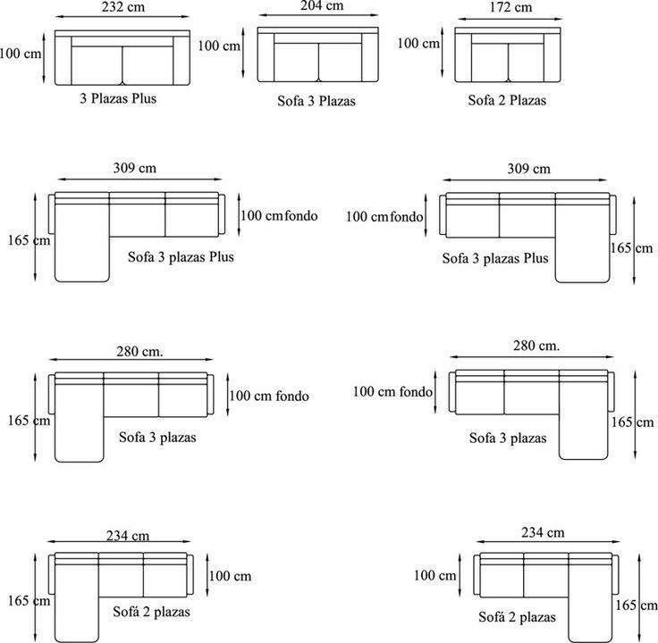 Dimens es de sof s arquitetura pinterest sof e for Medidas de sofas modernos