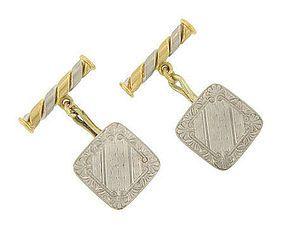 Antique Platinum and Gold Mens Cuff Links