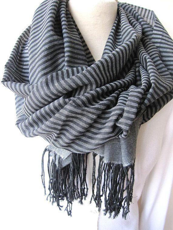 Turkey Turkish Scarf - Gray Grey Black stripe long cotton fabric - Men's scarves- Women's New Spring FASHION Scarf unisex gifts #mensscarves