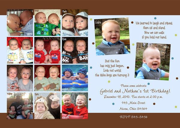 1st birthday photo card invitation for twins gabriel