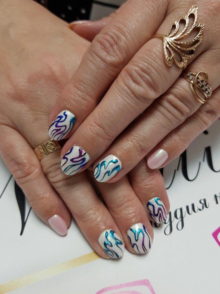 Работа: покрытие шеллак 💅фольга цветная 💅 втирка | Nail Art Studio ...