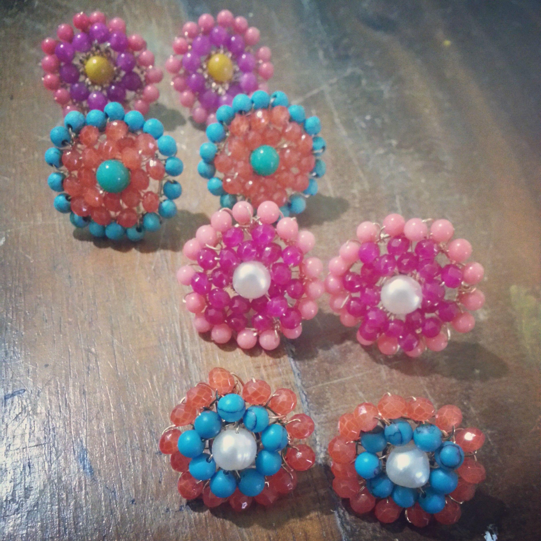 Código zar-00024 Zarcillos Teresa #earrings -Disponible en diferentes combinaciones de colores-