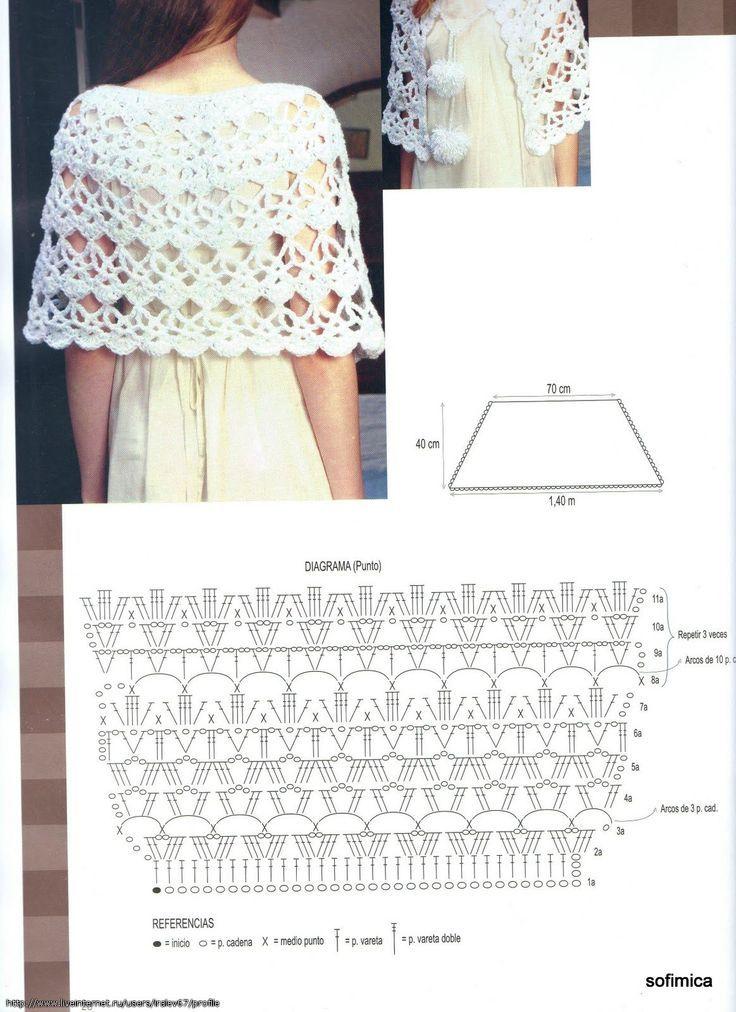 Crochet Capa - Chart:   Crochet tops/ bikini   Pinterest   Chal ...