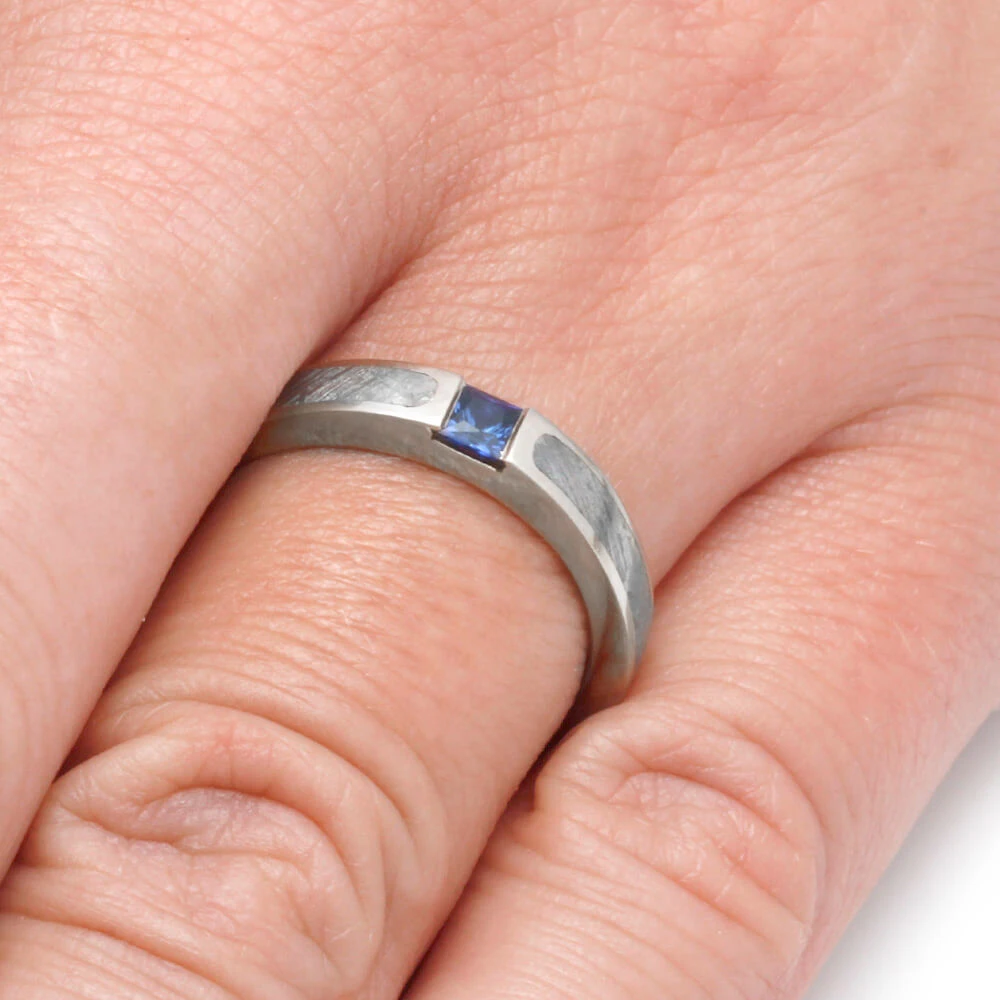 Blue Sapphire Engagement Ring Meteorite Ring In White Gold 2185 In 2020 Sapphire Engagement Ring Blue Engagement Rings Sapphire Sapphire Engagement