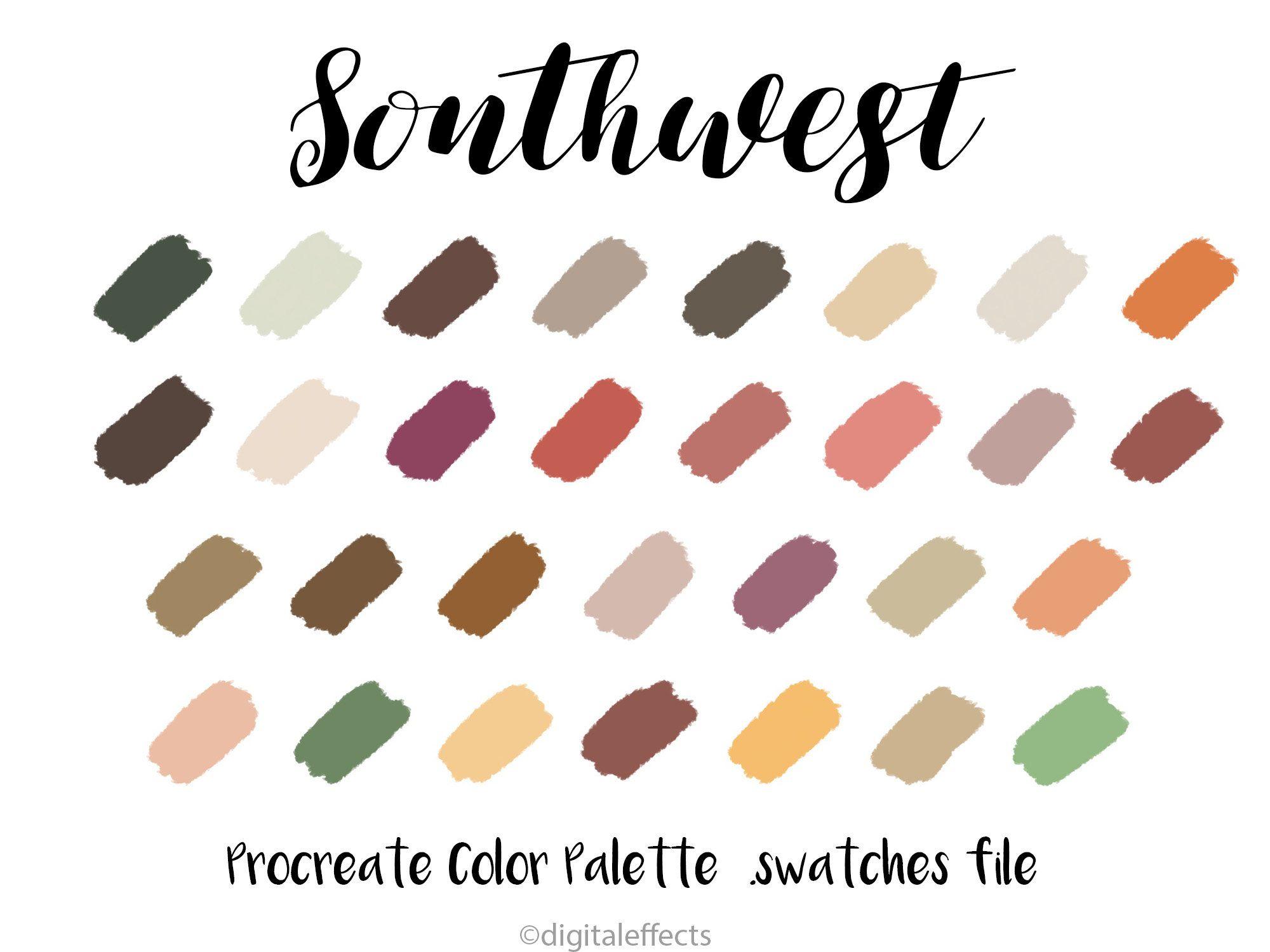 Southwest Procreate Palette Procreate Color Palette Procreate Swatches Color Swatches Fall Colors Neutral Colors Ipa Color Palette Color Swatches Palette