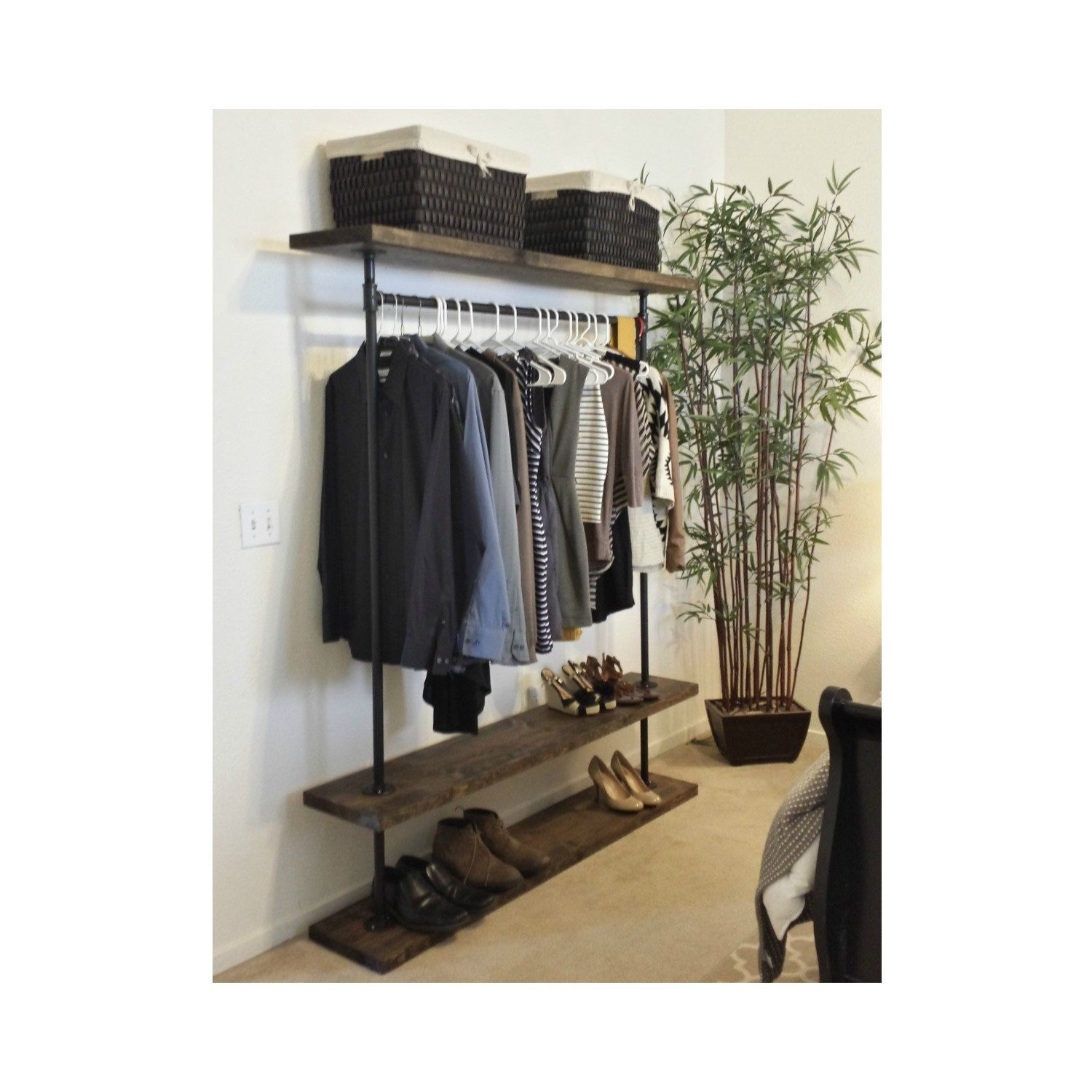 industrial pipe furniture. I Rack Double - Industrial Furniture Pipe Clothing Clothes