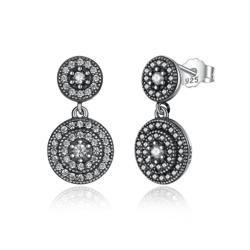 d70cee528 Circular shape cubic zirconia silver earrings | Products | Sterling ...