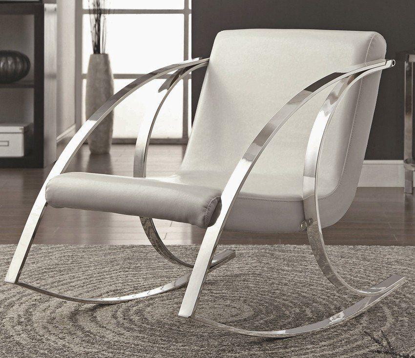 Garrey Grey Fabric Accent Chair Modern Rocking Chair White
