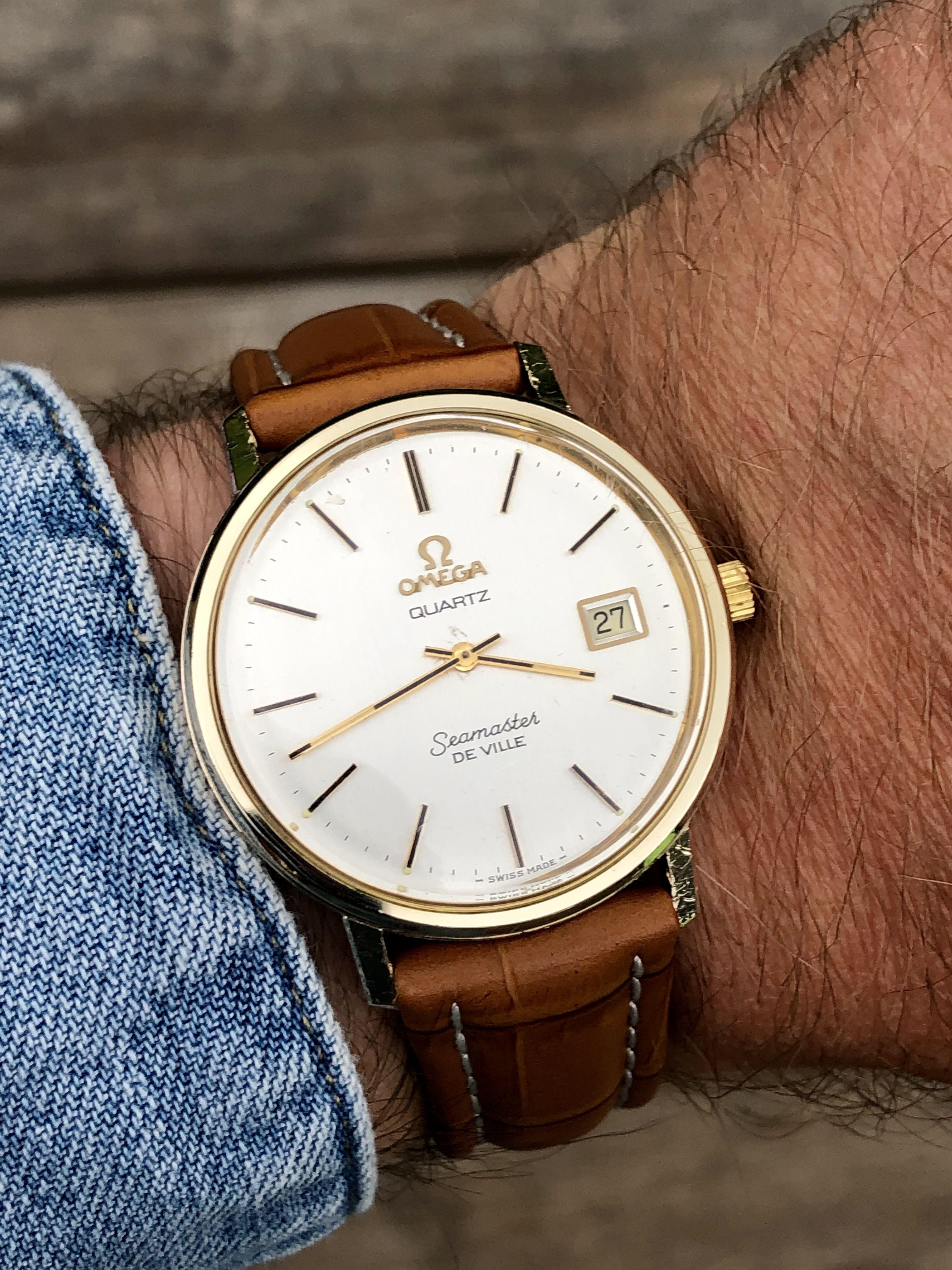 Vintage Omega Seamaster Deville Quartz 10K Gold Filled men's watch FOR SALE #vintagewatches