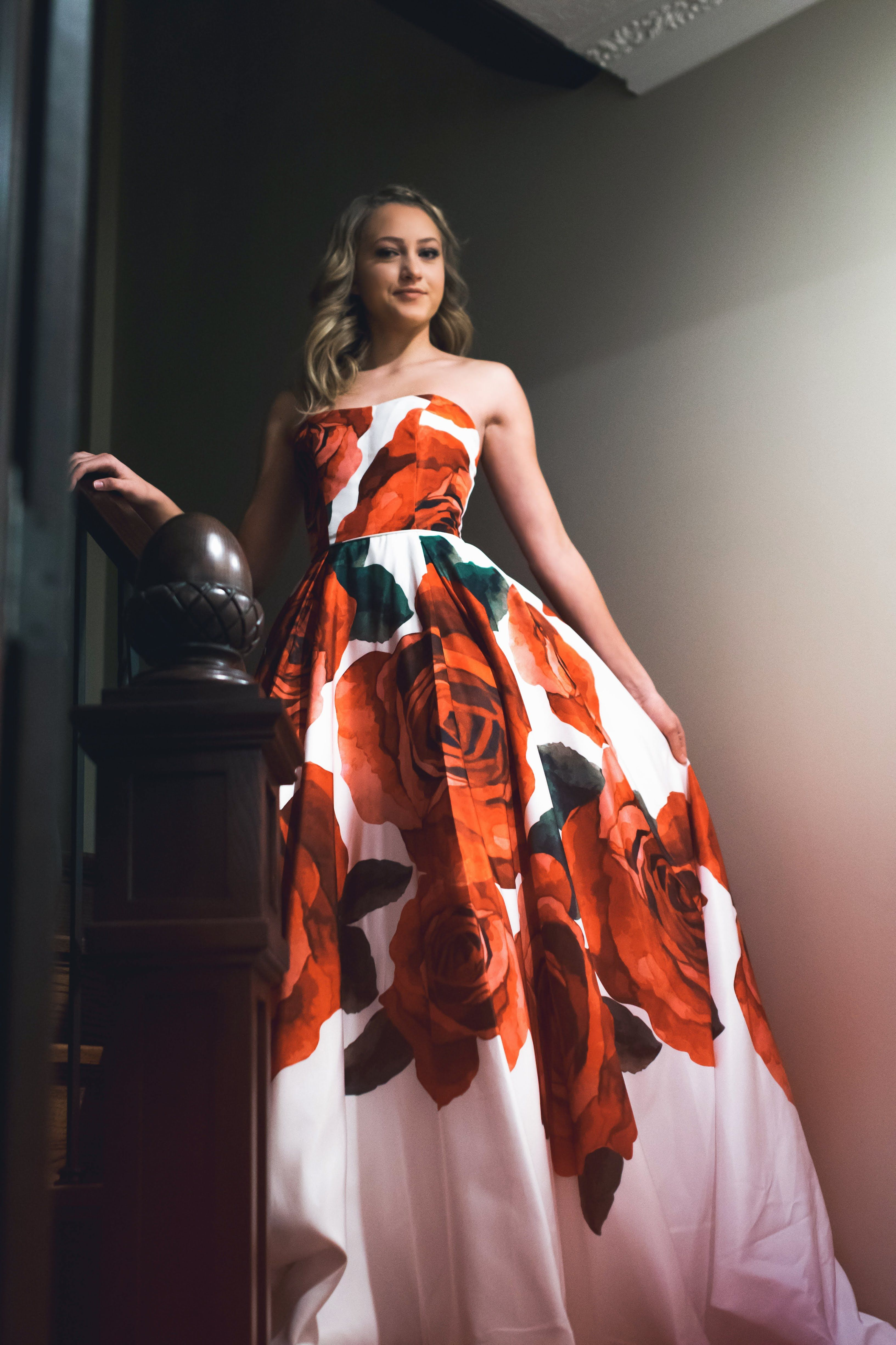 f9a7033f3d1 Sherri Hill Strapless Floral Print Red Rose Ballgown Ypsilon Dresses Prom  Pageant Evening Wear SLC Utah Dress Store Sweethearts Homecoming School  Dance ...