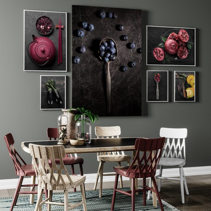 Food Kitchen Poster Wall Art Canvas Print Blueberry Eggplant