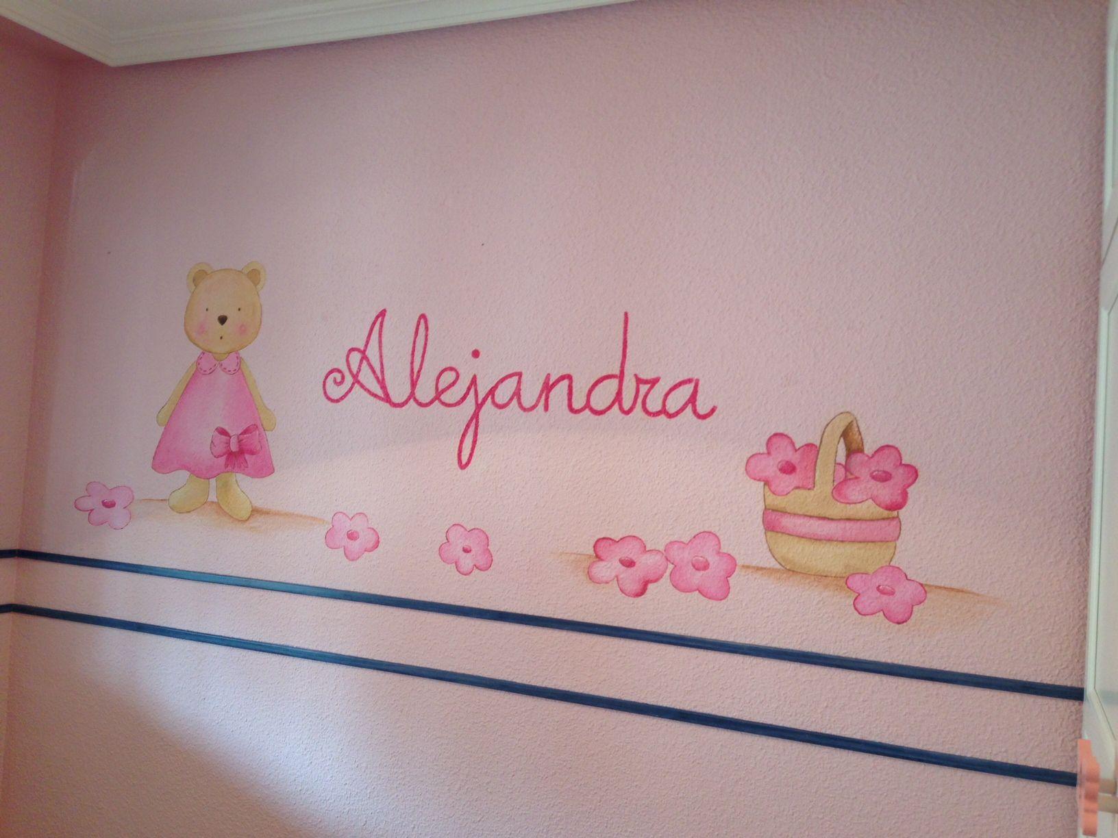 Osita con flores para el cuarto de alejandra murales - Murales para ninas ...