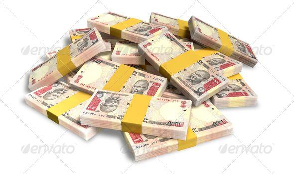 Rupee Notes Scattered Pile Assortment Brics Bundles Cash