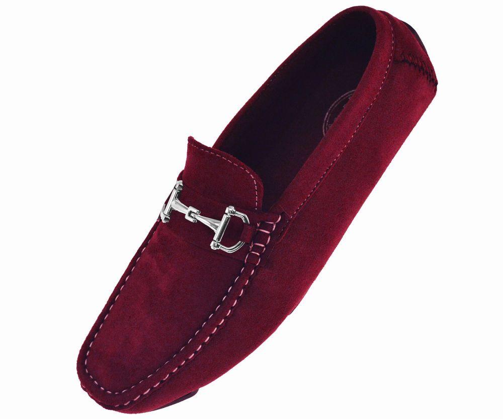 18464fb4167 Amali Men s Burgundy Driving Loafer Shoes w  Silver Ornament  Style  Walken-175  Amali  Loafer