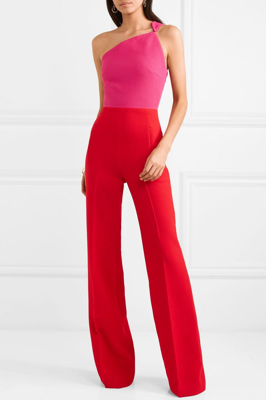 Original Cheap Price One-shoulder Two-tone Wool-crepe Jumpsuit - Red Roland Mouret Cheap Wide Range Of mx8ZPAThcz