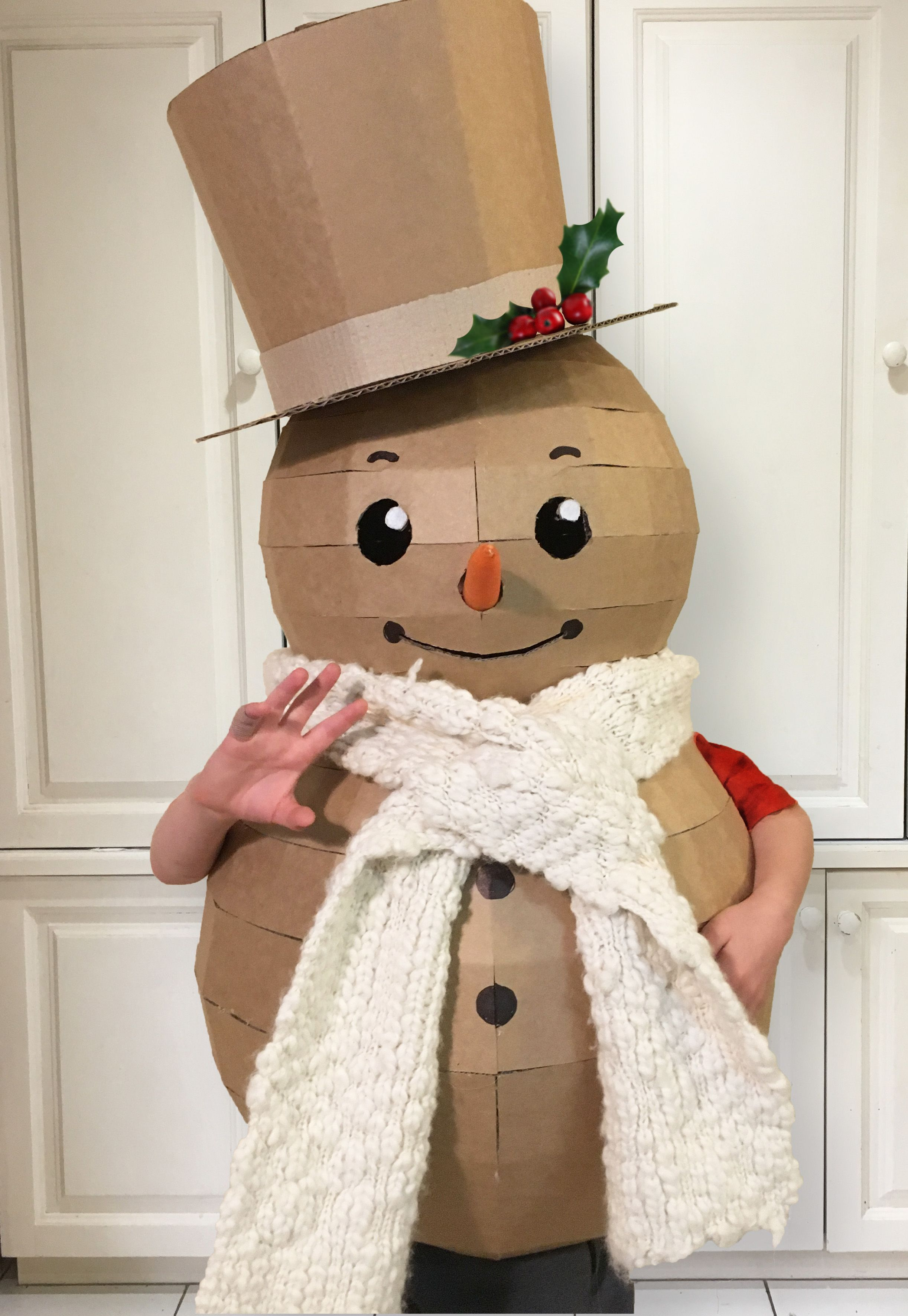 Do you want to build a snowman? How to make a cardboard snowman costume using a downloadable ...