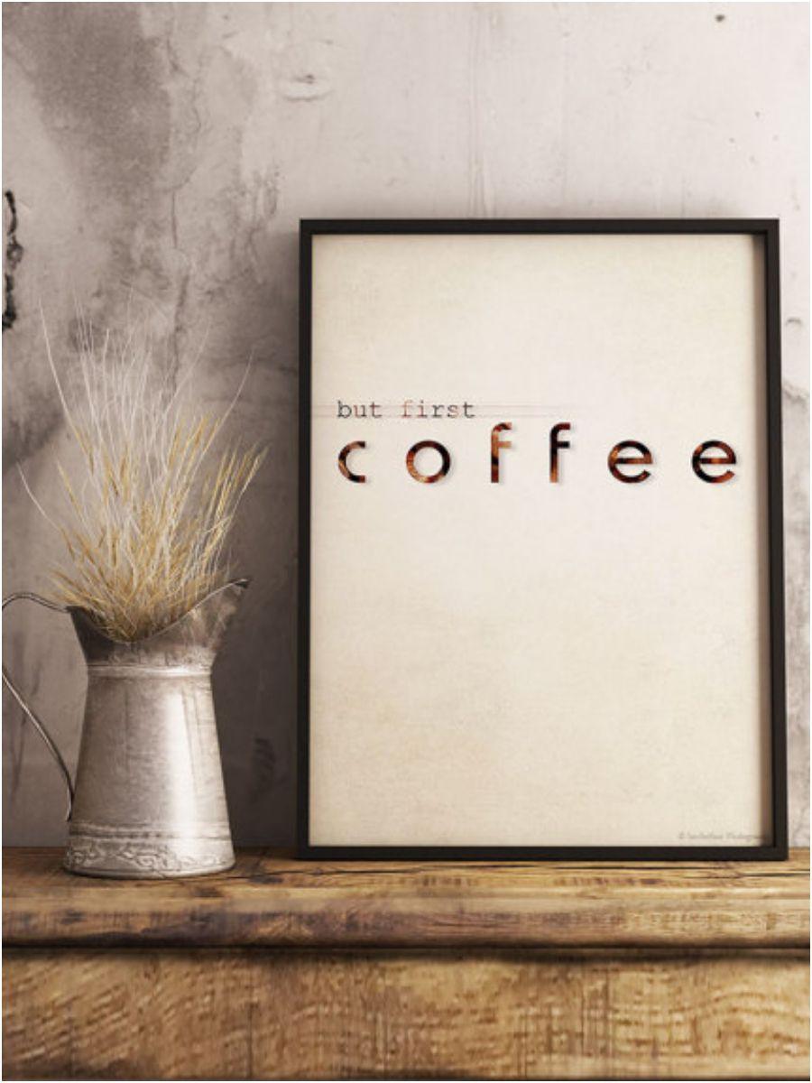 Minimalist Coffee Kitchen Poster Wall Decor Choose A Background White Or Vintage Minimalistdecor Kitchendecor