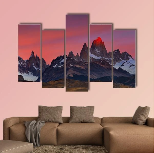 Mount Fitz Roy In Argentina Multi Panel Canvas Wall Art In 2020 Canvas Wall Art Wall Art Designs Art