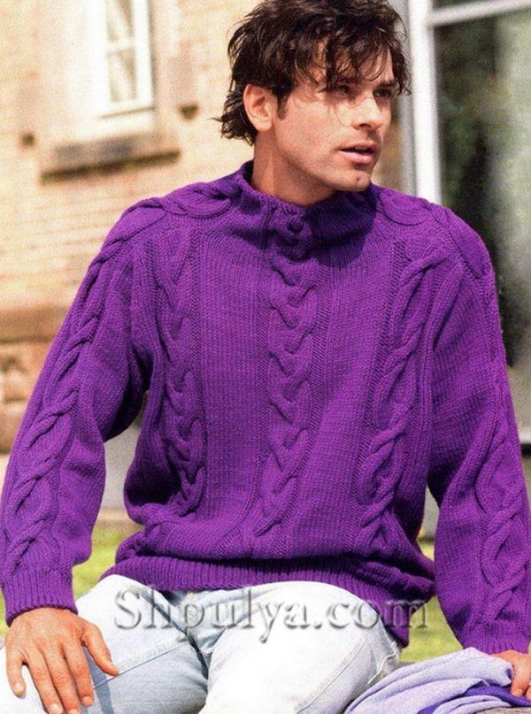 мужской фиолетовый пуловер с косами вязаный спицами Hand Knit