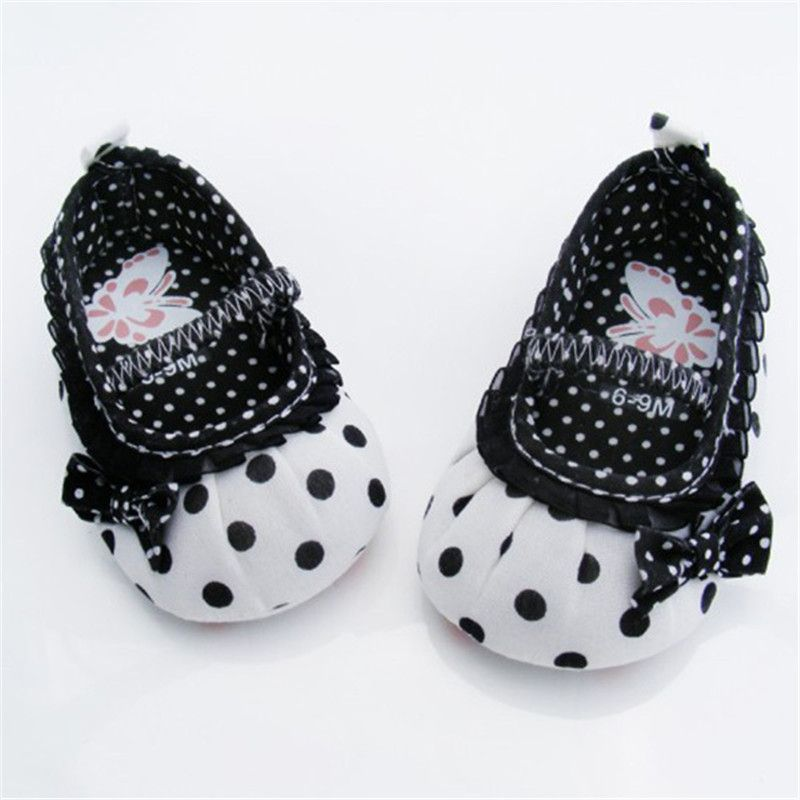 White Bowknot Dot Newborn Baby Girl Lace Shoes Toddler Prewalker Anti-slip Shoe Simple Baby Shoes Baby Shoes