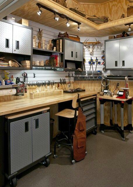 See Upper Decking In Garage With Lights Wood Carvers Workshop