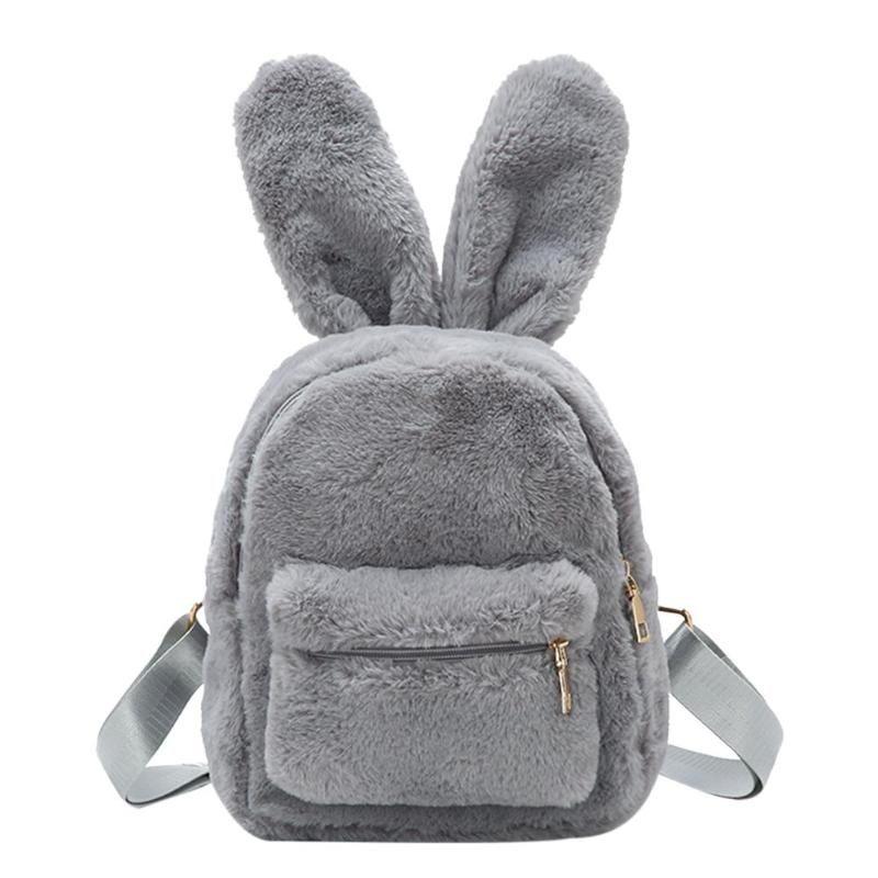 2315ee03d99c Cute Faux Fur Mini Backpack Rabbit Ear Winter Soft Women Furry Fluffy Plush Backpack  Travel Shoulder Handbags Rucksack Mochila