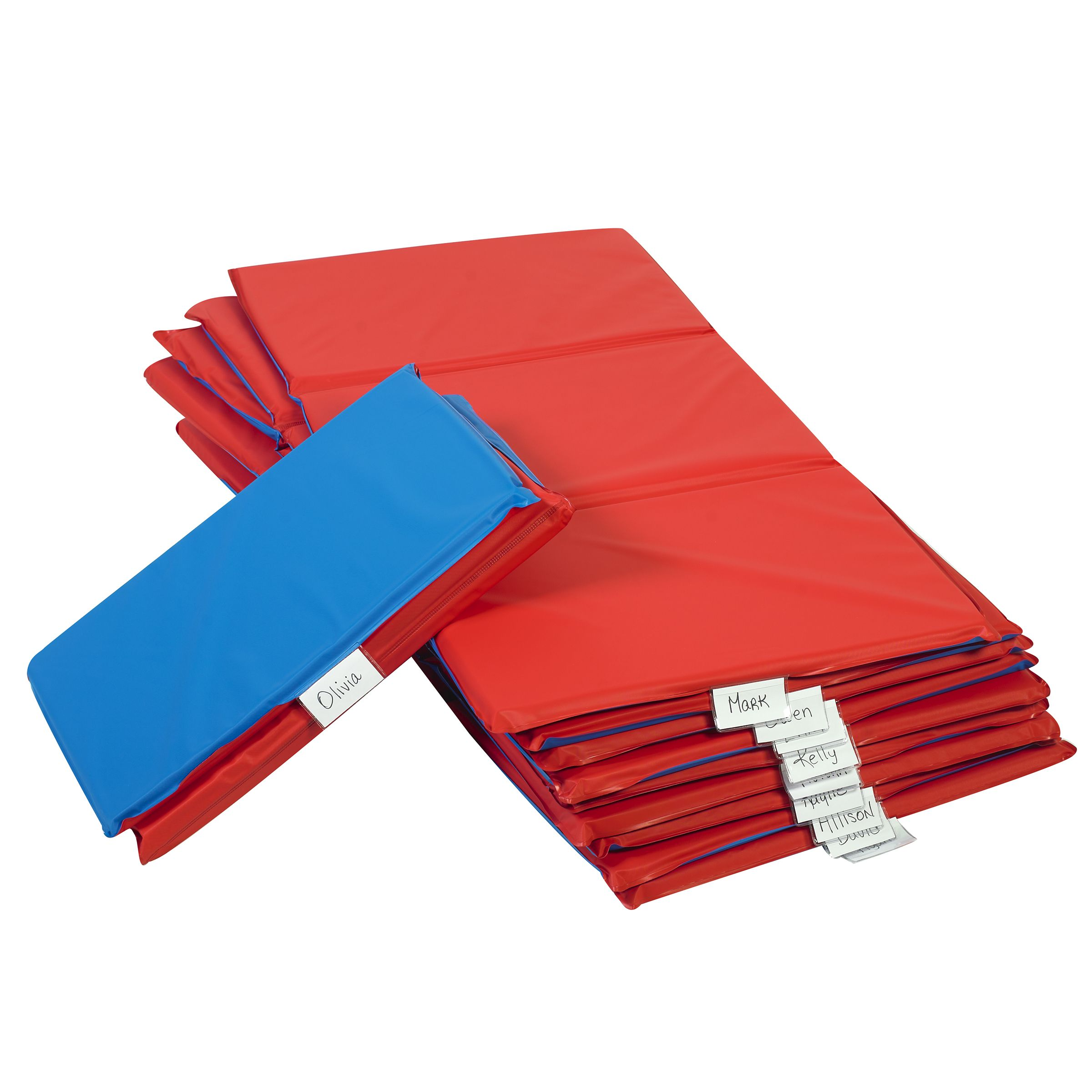 Angels Rest Nap Mat 1 Red Blue 3 Section Folding Mat 10 Pack Children S Factory Nap Mat Red And Blue Folding Mat