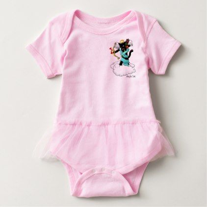 Valentine\'s Day Coal Black Cupid Cat Baby Bodysuit | Baby bodysuit