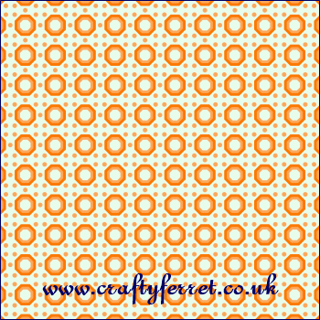 Free printable peach octagons on a green background craft backing paper from www.craftyferret.co.uk
