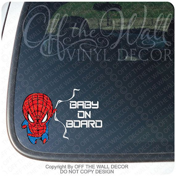 Spiderman baby on board vinyl decal by offthewallvinyldecor