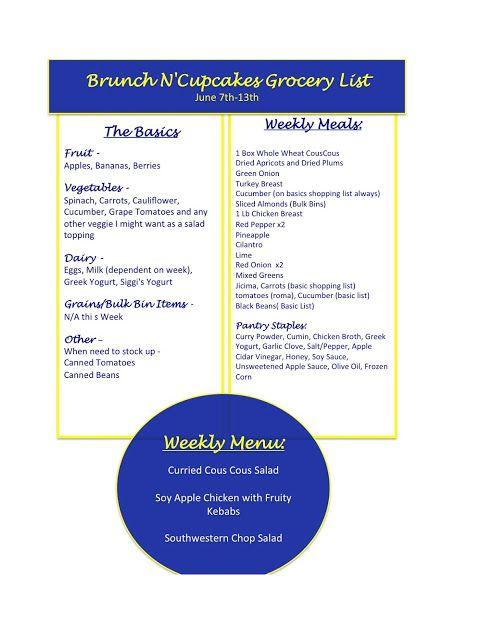 {Week 2 - Menu and Shopping List - June 7-13th}